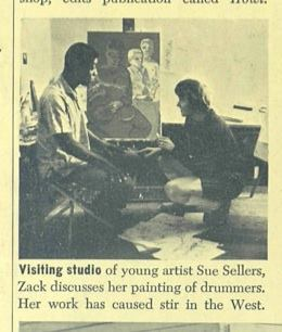 Ebony Magazine Article with Zack Thompson and Sue Sellars in her studio in front of the in process painting of the Drummers.