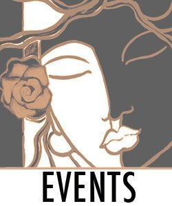 """Black and white face of a woman with the word """"EVENTS"""""""