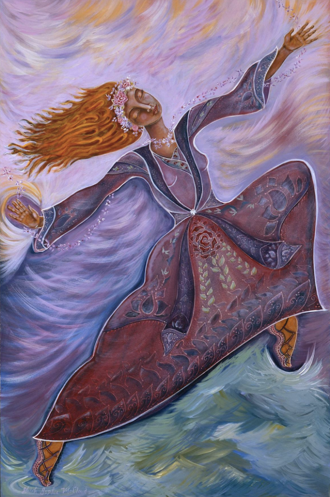Painting: Leap of Faith ~ Acrylic on Wood 2004 by Shiloh Sophia