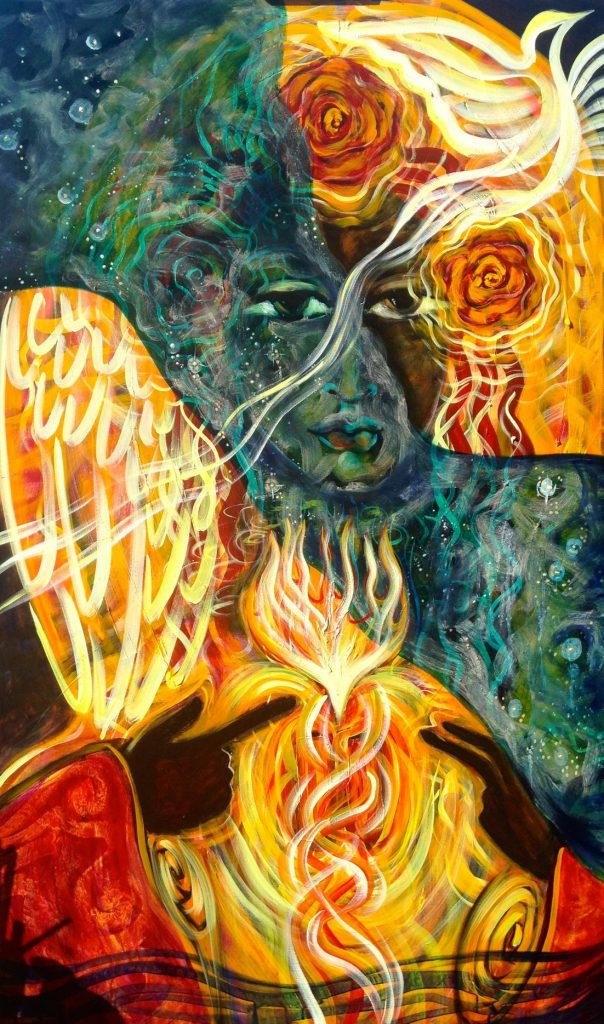 Painting : Our Lady of the Flaming Heart