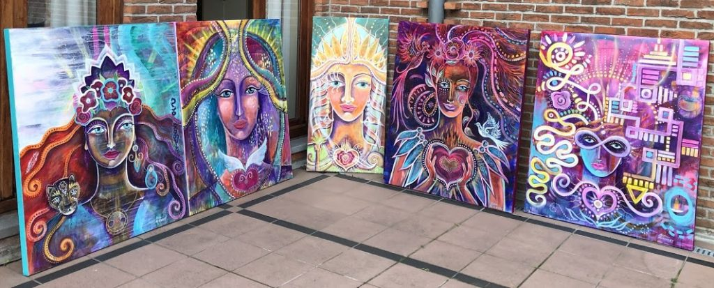 Nona McKinney, 2019 Graduate from Belgium. The photo is her 5 Archetypal Paintings from the Training!