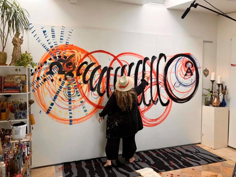 Shiloh Sophia Painting on Giant Board for Anthropas